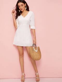 Crisscross Tie Back Lace Trim Dress