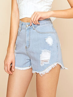 Light Wash Ripped Raw Hem Denim Shorts