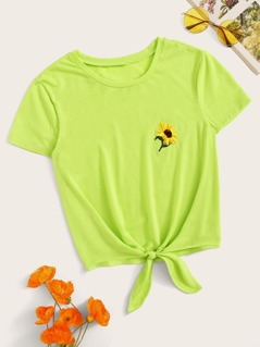 Neon Green Embroidery Sunflower Detail Knot Hem Top