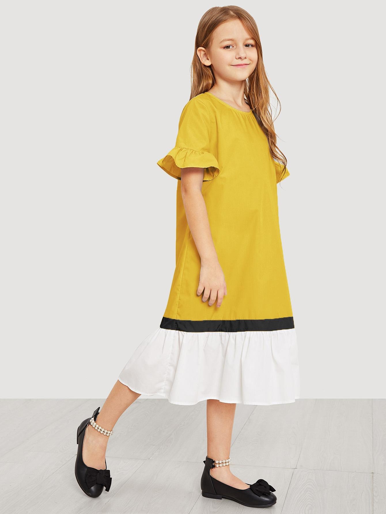 Фото - Платье с оборкой для девочек от SheIn цвет жёлтые