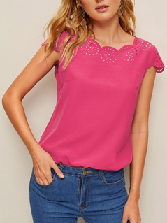 Neon Pink Scallop Laser Cut Cap Sleeve Top