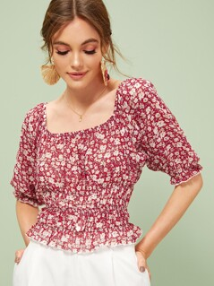 Ditsy Floral Frill Trim Shirred Crop Blouse