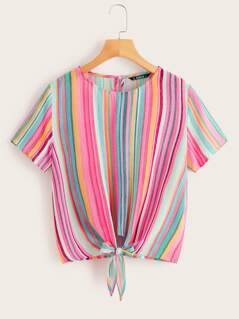 Colorful Striped Knotted Front Top