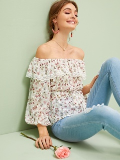 Ditsy Floral Lace Trim Bardot Belted Top