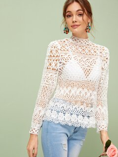 Tie Back Sheer Mock Neck Guipure Lace Top Without Bra