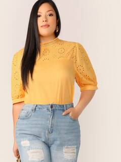 Plus Mock-neck Embroidered Eyelet Panel Top