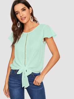 Flutter Sleeve Lace Insert Knotted Top