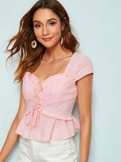 Lace Up Frill Trim Schiffy Peplum Top