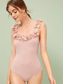 3D Ruffle Applique Slim Fitted Bodysuit