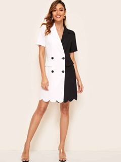 Double Breasted Two Tone Scalloped Blazer Dress
