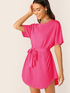 Neon Pink Self Belted Curved Hem Dress