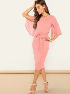Split Flutter Sleeve Belted Pencil Dress