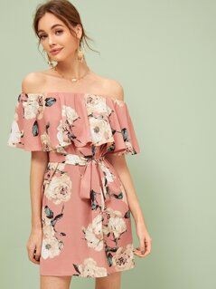 Floral Print Ruffle Trim Belted Bardot Dress