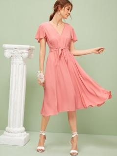 Flutter Sleeve V Neck Knotted Dress