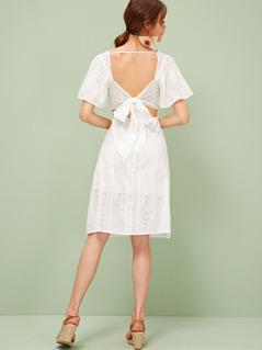 Tie Back Backless Ruffle Trim Schiffy Dress