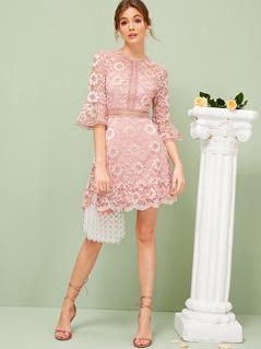 Flounce Sleeve Lace Overlay Dress