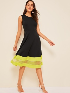 Neon Mesh Insert Striped Detail Fit & Flare Dress