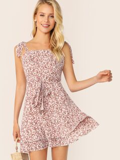 Ditsy Floral Print Layered Hem Dress With Tie Strap