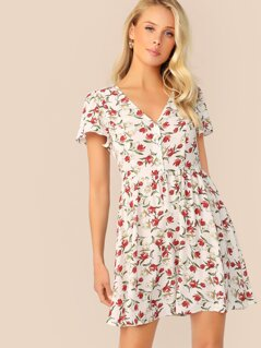 Button Front V Neck Ditsy Floral Print Dress
