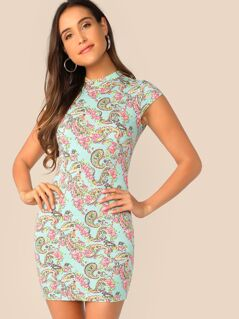 Mock-neck Paisley Print Bodycon Dress
