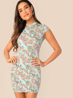 Mock-neck Paisley Print Bodycon Dress