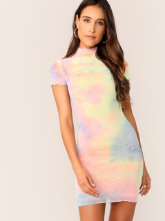 Mock Neck Lettuce Trim Tie Dye Bodycon Dress