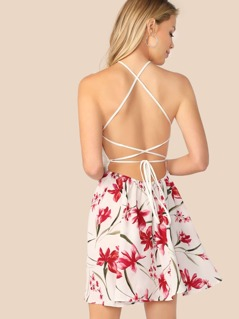 Crisscross Knot Backless Floral Combo Halter Dress