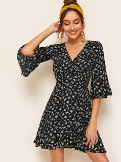 Ditsy Floral Ruffle Trim Wrap Knotted Dress