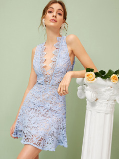 Plunging Neck Open Back Guipure Lace Overlay Dress
