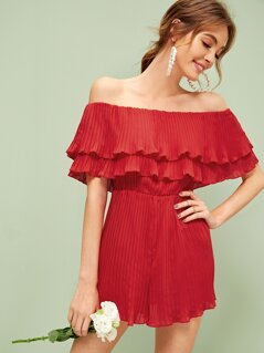 Off Shoulder Ruffle Overlay Pleated Romper