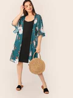 Plus Open Front Flounce Sleeve Floral Kimono