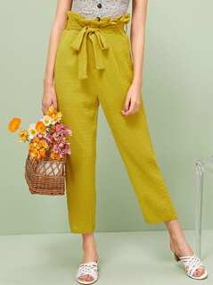 Paperbag Waist Belted Textured Pants