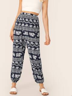 Tribal Print High Waist Lantern Pants