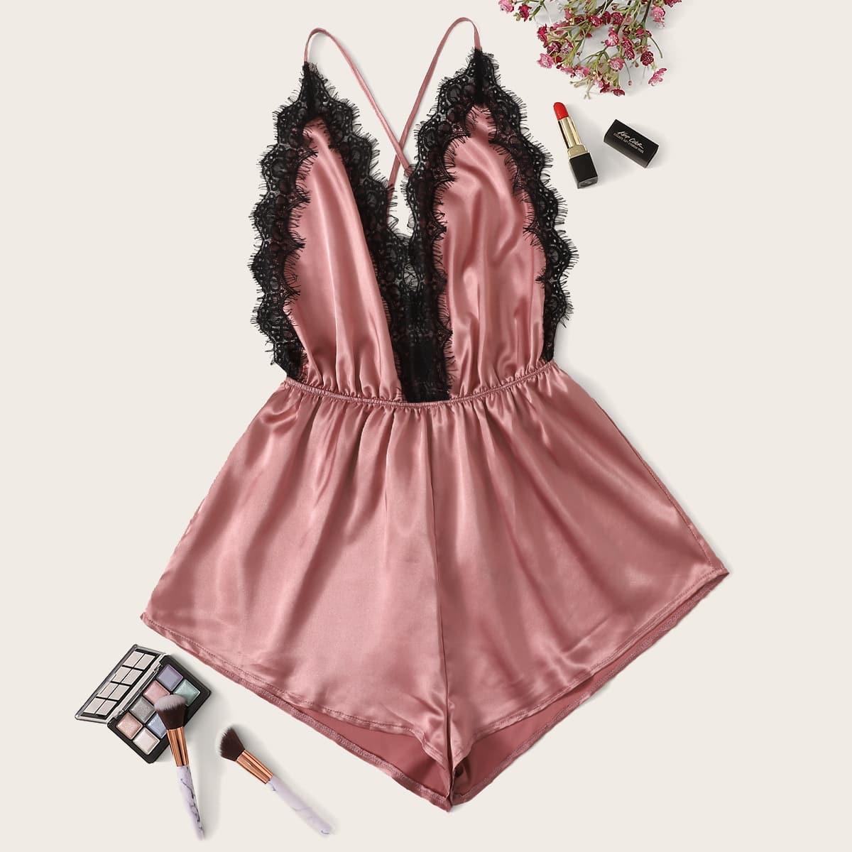 Roze  Sexy Onesies Contract kant