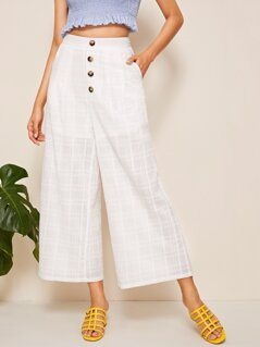 Button Front Slant Pocket Wide Leg Pants