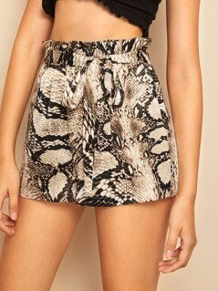 Snakeskin Print Paperbag Waist Belted Shorts