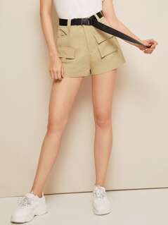 Pocket Front Buckle Belted Utility Shorts
