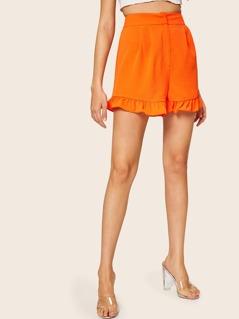 Neon Orange Wide Waistband Ruffle Hem Shorts