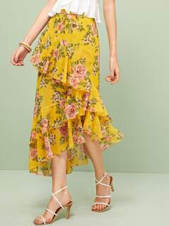 Floral Print Layered Ruffle Trim Asymmetrical Skirt