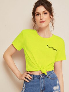 Neon Lime Letter Print Tee