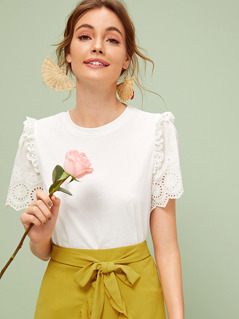 Eyelet Embroidered Sleeve Frill Trim Tee