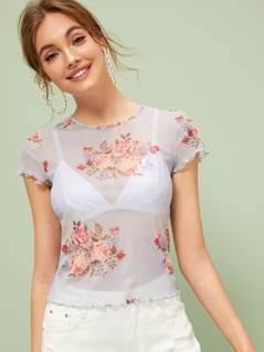Floral Print Lettuce Trim Sheer Tee Without Bra
