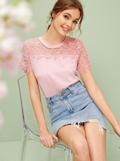Sheer Guipure Lace Yoke Solid Tee