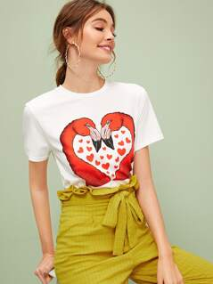 Flamingo Print Short Sleeve Tee