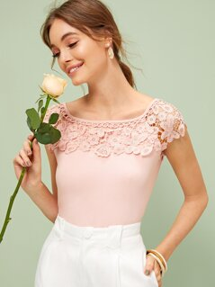 Guipure Lace Yoke Solid Tee