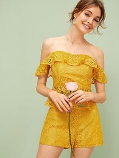 Zip Back Bardot Lace Peplum Top & Shorts Set