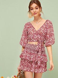Puff Sleeve Wrap Crop Top & Shirred Ruffle Hem Skirt Set