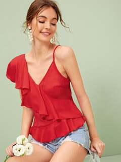 Double V-neck Ruffle Detail Cami Top