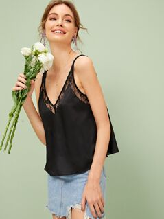 Double V Neck Lace Insert Solid Top