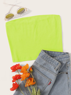 Neon Lime Rib-knit Crop Bandeau Top